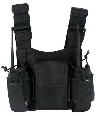 Premium Chest Harness 3 Pocket Heavy Duty 2 Way Walkie Talkie Holster Vest Rig.