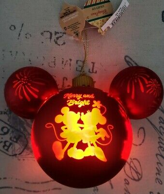 New 2020 Disney Parks  Mickey Minnie Merry and Bright Light Up Ornament