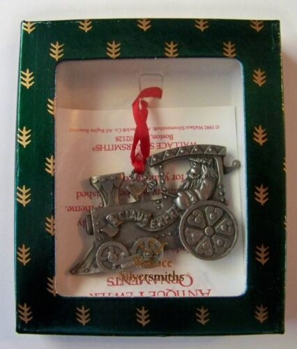Wallace Silversmith SOLID PEWTER Santa Claus Express Train Ornament 1992
