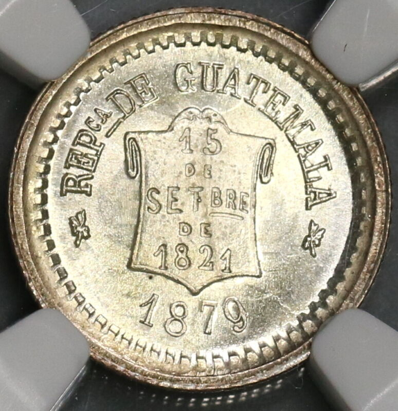 1879 NGC MS 66 Guatemala 1/2 Real Scroll Silver Coin (19062602C)