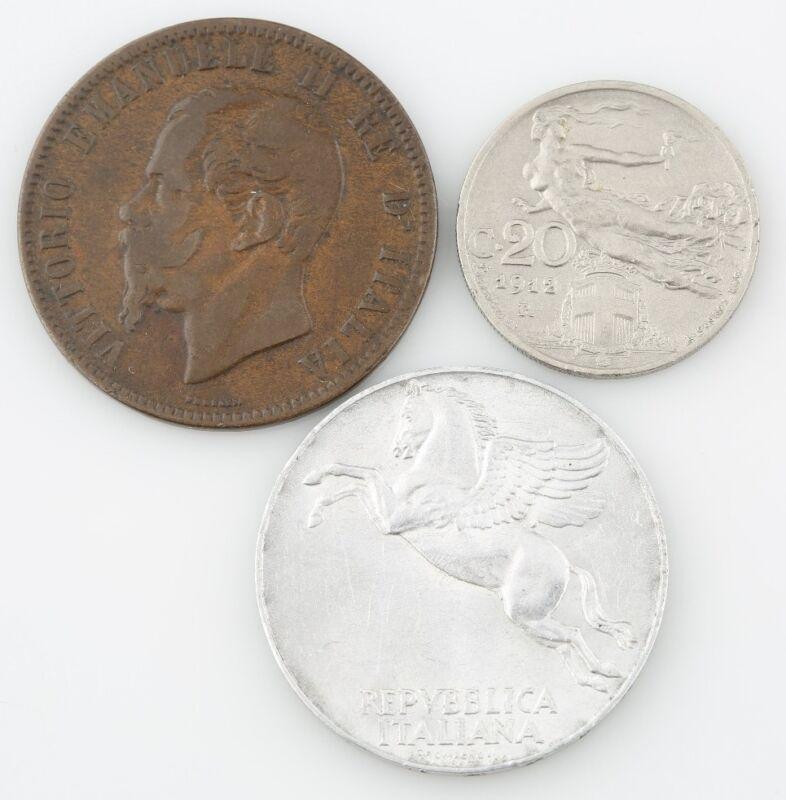 Italian Coin Lot 1863 10 Centesimi 1912 20 Cent 1950 10 Lire VF-XF Italy