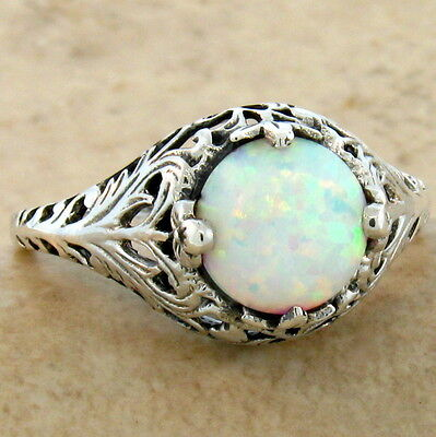 WHITE LAB OPAL ANTIQUE FILIGREE DESIGN 925 STERLING SILVER RING SZ 8,#640
