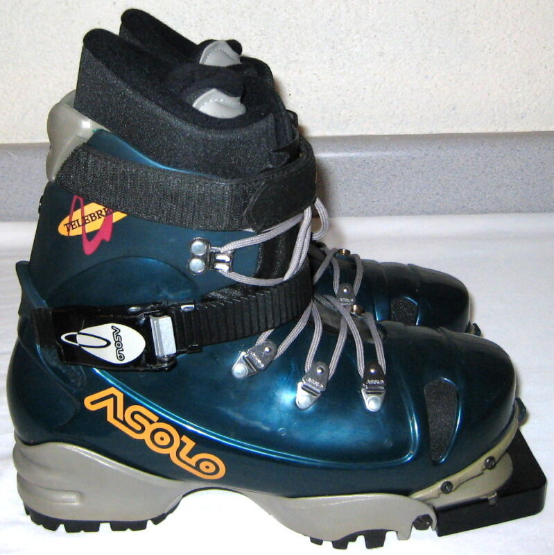ASOLO 3 Pin 75 mm TELEMARK Ski BOOTS 25 Mens sz 6.5 Women 7.5 Nordic TELEMARKING