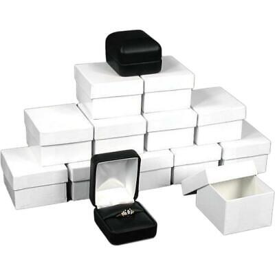 12 Ring Boxes Black Faux Leather Jewelry Case Display Black Faux Leather Jewelry Case