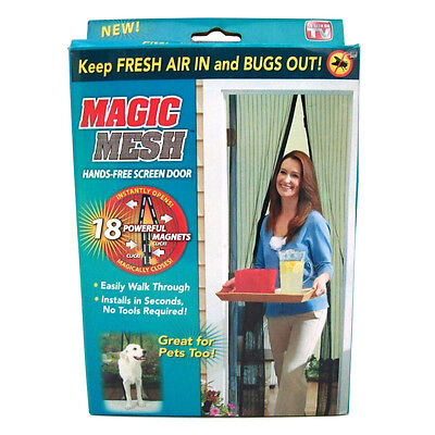Hands Free Auto Door Mesh Screen Net Magnets Anti Fly Bug Self Opening with box