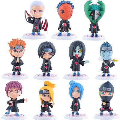 11 pcs Cute Naruto Akatsuki Figures Set Uchiha Itachi Sasuke Deidara Cake Topper Animation Art & Characters