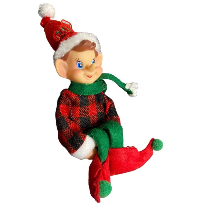 "Knee Hugger Elf Pixie Buffalo Plaid Poseable 2018 Ornament 8"" Rubber Face"