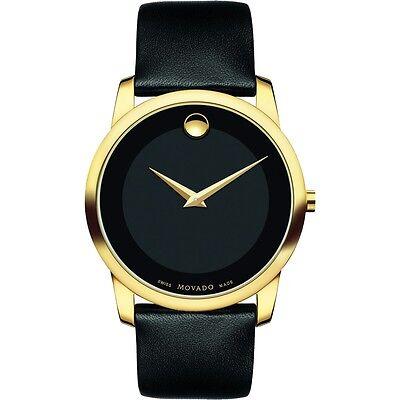Movado Museum 606876 Black / Black Leather Analog Quartz Men's Watch
