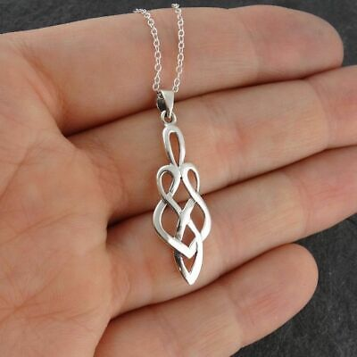 Celtic Love Knot Pendant Necklace - 925 Sterling Silver - Infinity Irish NEW
