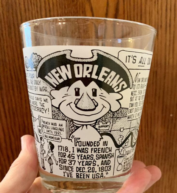 John Chase Cartoon History of New Orleans LA-WDSU Flared Cocktail Bar Glass