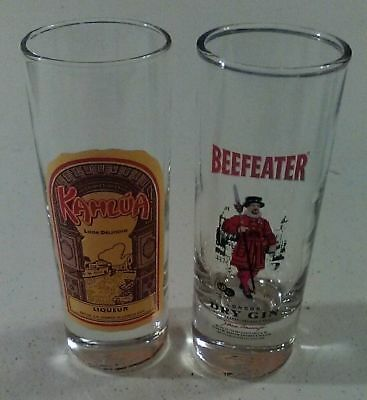 Tall Shooter Glasses Beefeater Dry Gin & Kahlua Liqueur Lot of 2 for sale  Homosassa