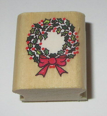 Christmas Wreath Rubber Stamp Holly Leaves Berries Bow Ribbon Wood Mounted  Holly Leaves Bow