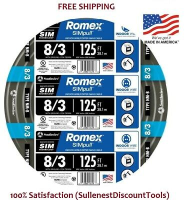 Southwire Romex Simpull 125-ft 8-3 Non-metallic Wire 8 3by-the-roll 63949202