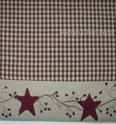 Applies Stars & Berry Vines Country Primitive Shower Curtain ...