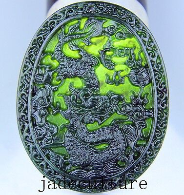 Chinese natural black green jade jadeite pendant hand-carved necklace dragon
