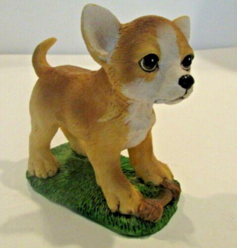 Chihuahua Puppy with Bone Figurine