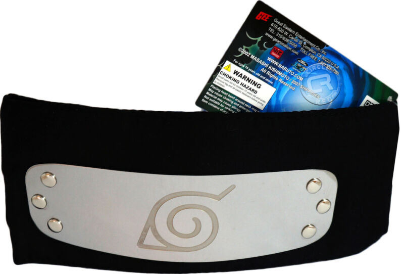 Naruto Shippuden Konoha Leaf Village Logo Black Headband New Official Licensed