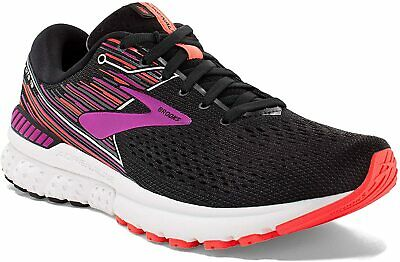 Brooks Women's Adrenaline GTS 19 (2A Width) Running Shoes, Black/Purple/Coral