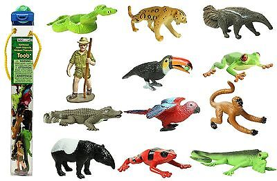 Rainforest Toob ~ Safari Ltd #680504 ~ plastic toy animal, frogs, monkey, jaguar - Frog Toys