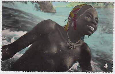 AFRIKA EINHEIMISCHE NACKTE BEIM BAD IM FLUSS KONGO FOTO AK UM 1950 PC