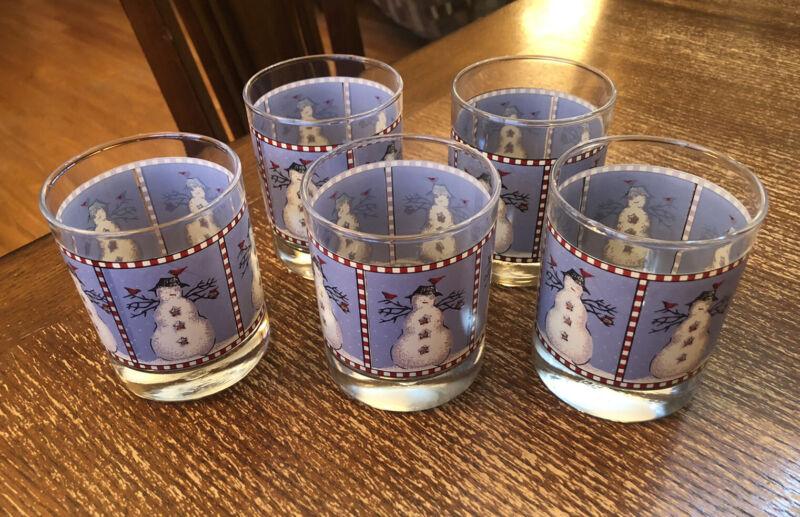 "5 Snowman Double Old Fashioned Glass Tumbler 12 oz  Debbie Mumm 4"" Christmas"