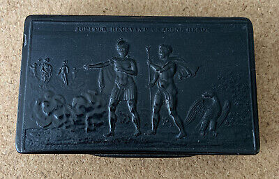 Antique Snuff Box Napoleonic Period Pressed Horn Jupiter receiving A Young Hero
