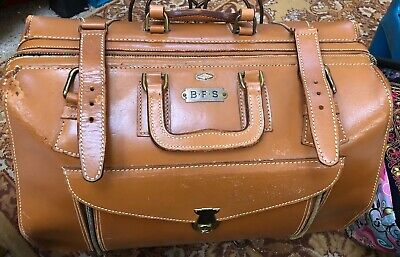 Zipp-O-Grip Doctors Bag Leather Satchel Case Bag Vintage House Call