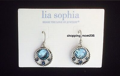 Lia Sophia  Open Water  Matte Silver Tone With Cut Crystals Earrings