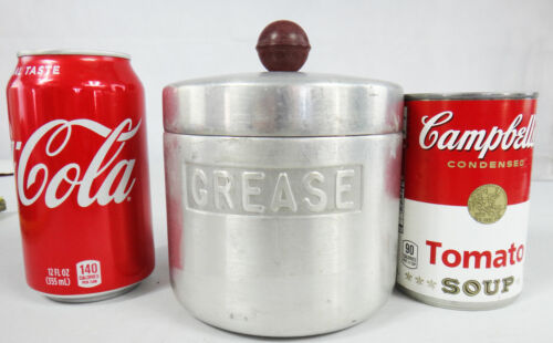 Vintage GREASE oil jar container mid century modern art deco can metal strainer