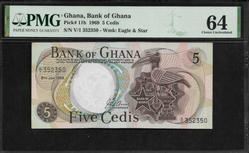 Ghana 5 Cedis 1969  PMG 64 UNC Pick # 11b