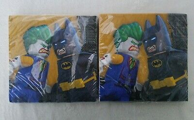 Lot (2x 16) Lego Batman Joker Luncheon Napkins Birthday Party Supplies 32 Total - Jokers Party Supplies