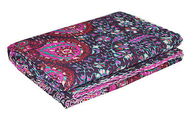 Indian Handmade Twin Cotton Kantha Quilt Throw Blanket Mandala Quilt Bedspread  Handmade Cotton Quilt Throw