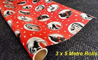 3 Rolls - 5 Metres x 70cm Christmas Gift Wrapping Paper - Animal Theme Cats Dogs