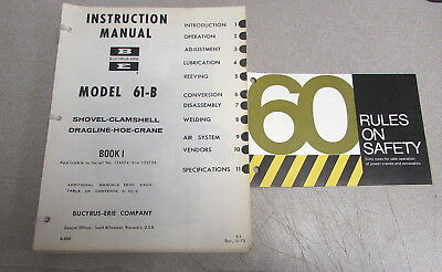 Bucyrus-erie Model 61-b Shovel Hoe Crane Instruction Service Manual