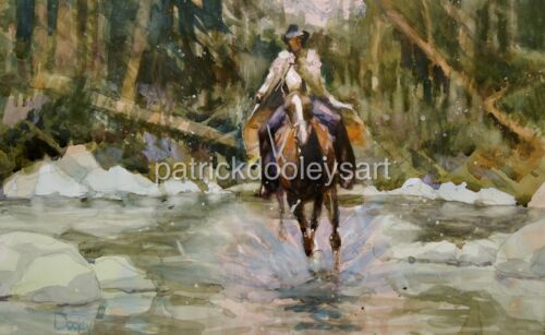 "Original watercolor painting 22x15 ""The Searcher"" Western dooleysart USA artist"