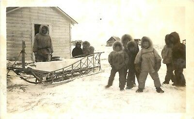 RPPC Postcard P-1382 Alaska AK Eskimo Kids in Sealskin Suits w Sled Hauling - Eskimo Suits
