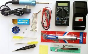 NEW-ELECTRONICS-TECH-KIT-SOLDERING-IRON-40W-DIGITAL-MULTIMETER-TESTER-MORE