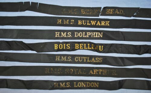 British & 1 French Cap Tally Lot - WWII?