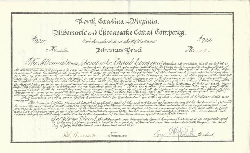 NORTH CAROLINA & VIRGINIA Albemarle & Chesapeake Canal Co Bond 1903