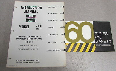 Bucyrus-erie Model 71-b Diesel Shovel Hoe Crane Instruction Service Manual