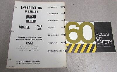 Bucyrus-erie Model 71-b Diesel Shovel Hoe Crane Instruction Service Manual