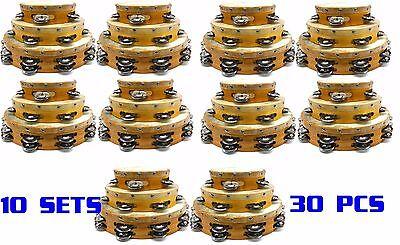 DEURA 10 X Set of 3 TAMBOURINES WHOLESALE LOT OF 30 PIECES TOP Quality W/ BAGS - Wholesale Tambourines