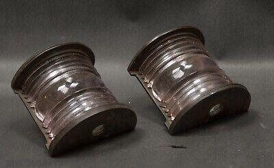 Pair PERKO Marine Sconces, Fresnel Lens, Industrial Brass Housing, Machine Age