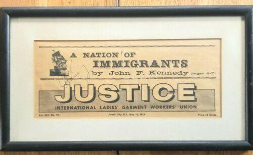 Framed ILGWU Garment Union May 1963 News John Kennedy JFK Immigrants NJ Vintage