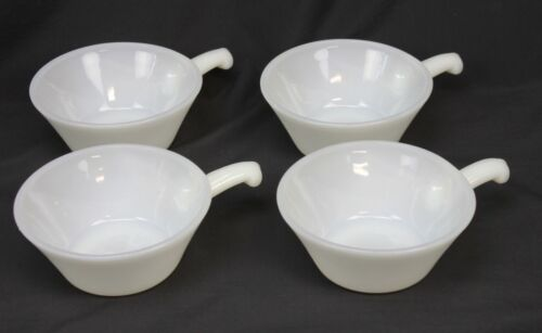 4 Vtg Fire King Bowls Handles Anchor Hocking White Milk Glass Oven Proof Soup