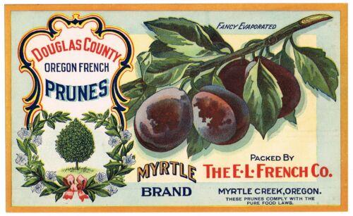 GENUINE VINTAGE C1920 OREGON PRUNE LABEL MYRTLE CREEK FRENCH FRUIT COMPANY