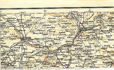 Gotha Erfurt Kranichfeld 1888 kl. Teilkarte/Ln Apfelstedt Mühlberg Wandersleben