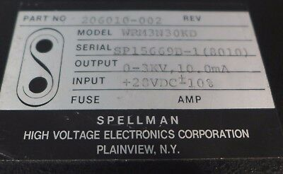 Spellman High Voltage Power Supply 0-3 Kv Model Wrm3n30kd