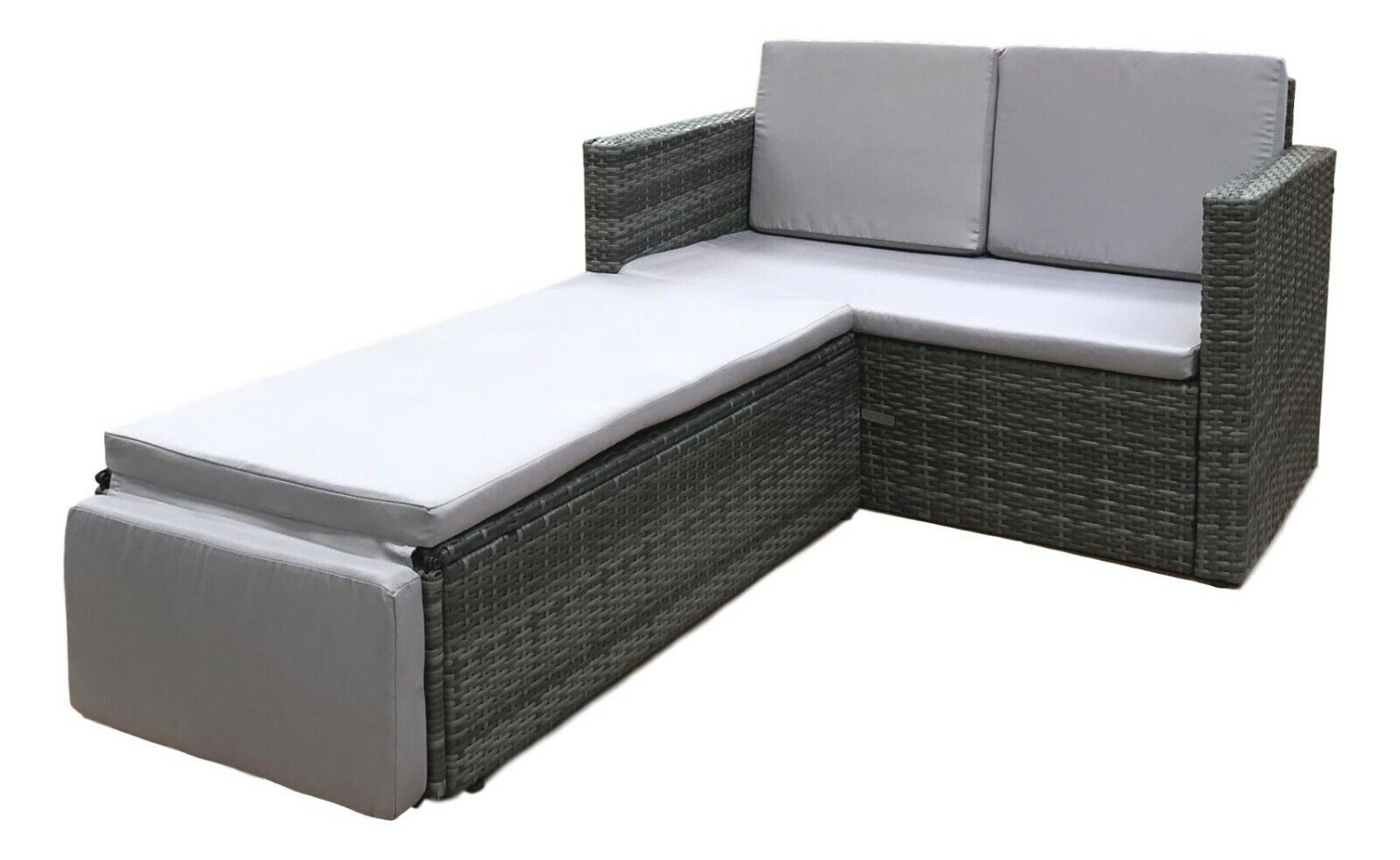 Garden Furniture - Rattan Outdoor Garden Sofa Furniture Love Bed Patio Sun bed 2 seater Grey New