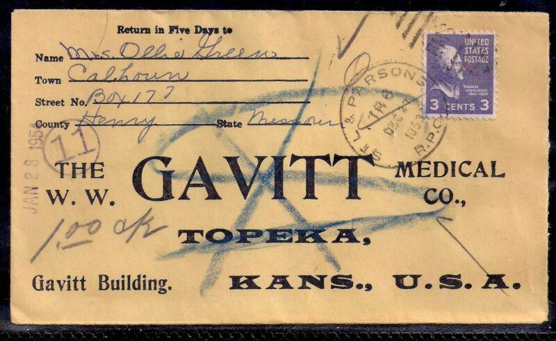 1953 Calhoun, Missouri to Topeka, KS - Via St Louis & Parsons RPO - Gavitt Med